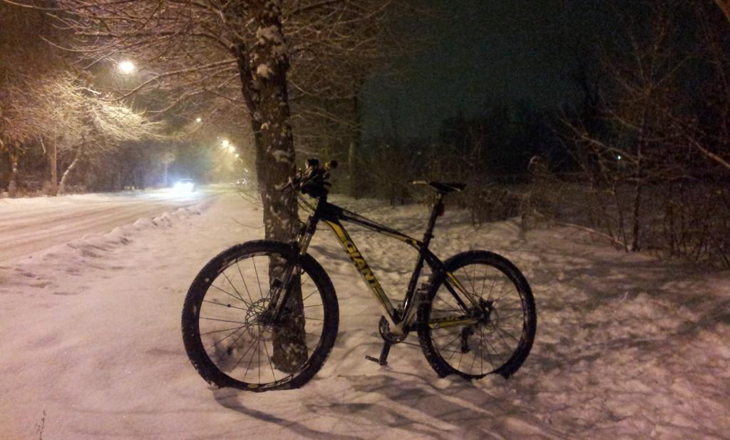Велосипед и девственный снег