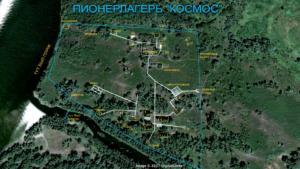 Схема пионерского лагеря Космос (Волгоградская обл, Среднеахтубинский район)