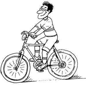 Мультяшный мужик едет на велосипеде