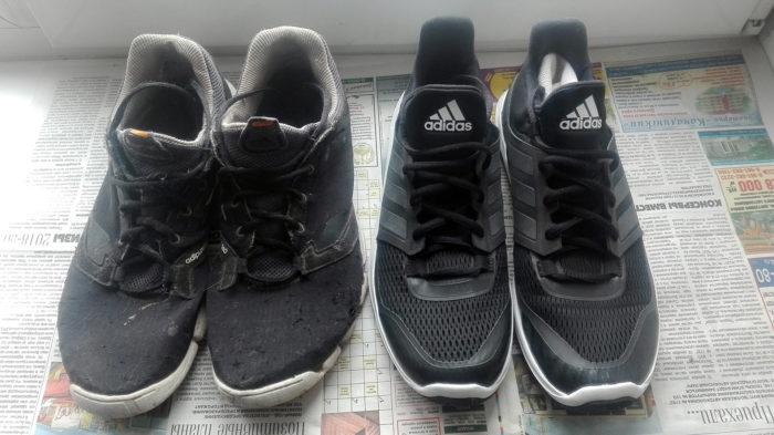 Грязно-белые и черные манжеты кроссовок Адидас